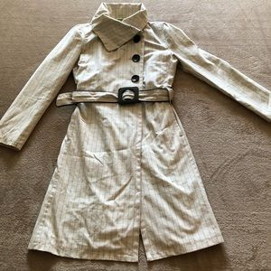 Tan checkered trench styled coat